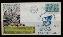 US Cover 1947 John Paul Jones Bicentennial U.S. Naval Academy ,Very Fine  ! - Brieven En Documenten