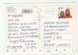 2014 PORTUGAL COVER St Estevau Festival Stamps (postcard)  To GB - 1921-... Republic