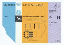 Eintrittskarte Ticket München Olympia 1972 - Hockey - Hockeyanlage Olympiapark Platz 1 - Otl Aicher - Eintrittskarten