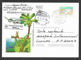 Portugal 1987 Entier Postal Vol TAP 40 Ans Ligne Angola Mozambique Moçambique Voyagé Luanda Airplane Flight Stationery - Poste Aérienne
