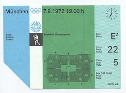 Eintrittskarte Ticket München Olympia 1972 - Boxen - Boxhalle Olympiapark - Otl Aicher - Eintrittskarten