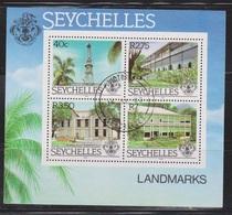 SEYCHELLES Scott # 518A Used - Buildings Souvenir Sheet - Seychelles (1976-...)
