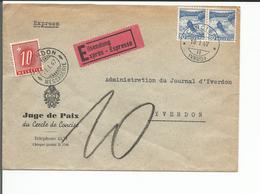 Lettre Exprès Suisse + Timbre Taxe, Concise - Yverdon (10.1.1947) - Poste Aérienne