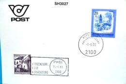 SH3027 RARITÄT ! - Stempelwechsel PHSt Leobendorf Post 2100 Korneuburg 31.5.1983 - Marcophilie - EMA (Empreintes Machines)