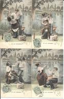 Serie 6 Cartes Fantaisie .LE LAC D'ENGHIEN 1905. - Enghien Les Bains