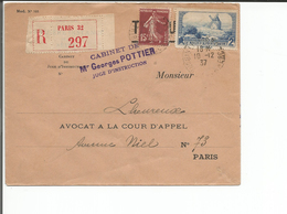 France, Lettre Recommandée, Georges Pottier Paris (10.12.37) - Marcophilie (Lettres)