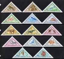 544 Aden - Qu'aiti 1968 Animals (Past & Present) Triangulars Set Of 14 (animals Dinosaurs Saber Tooth) - Aden (1854-1963)