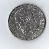 Belgique 5 Francs Léopold II Roi Des Belges 1875 Argent Lépold Wiener - Royaux / De Noblesse