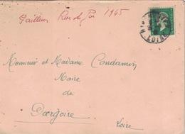 LOIRE - RIVE DE GIER - MARIANNE DULAC - 50c VERT N°688 - SEULE SUR LETTRE DU 30-8-1945 (P1) - Postmark Collection (Covers)