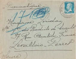 PARIS - RUE POUSSIN - PASTEUR 1F50 -  PNEUMATIQUE DU 30-8-1932 (P1) - Postmark Collection (Covers)