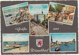Grüße Aus Düsseldorf: AIRPLANE, TANK TRUCK, TRAM, BMW/ISO ISETTA, FORD 12M KOMBI, VW 1200 - BOATS/SHIPS - (D.) - Passenger Cars