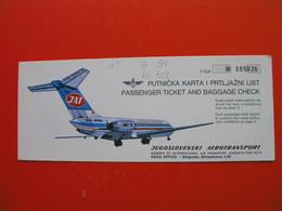 JAT.JUGOSLOVENSKI AEROTRANSPORT.PUTNICKA KARTA I PRTLJAZNI LIST.PASSENGER TICKET AND BAGGAGE CHECK - Billetes De Transporte