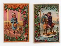 CHROMO Maison Philippe Latour Chaussures Liancourt Mayoux Enfant Jeu Jouets Cheval De Bois Soldats Tambour Canon (2 Chro - Non Classés