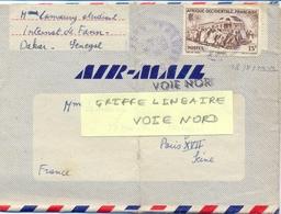 GRIFFE LINEAIRE VOIE NORD APPOSÉE Sur PLI  LETTRE De DAKAR-FANN SENEGAL TàD 18-8-1952 Pour PARIS XVII - Storia Postale