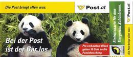 2003 Austria  Österreich Mi. Bl. 18 FD-used  Faltkarte :  Panda-Forschung Im Tiergarten Schönbrunn - Blocs & Feuillets