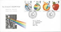 Great Britain GB Isaac Newton FDC 1987 Woolsthorpe Mathematics Gravity Optics Apple Planets Royal Mail Questa Cover - FDC