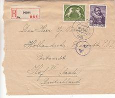 Pays Bas - Lettre Recom De 1943 ° - Oblit Doorn - Exp Vers Hof  Saale - Avec Censure - Brieven En Documenten