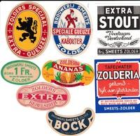 ZOLDER-BROUWERIJ-BRASSERIE-SMEETS-BOCK-KABOUTER-ZOLDERIA-GEUZE-STOUT-KERELSBIER-LOTJE VAN 8 ORIGINELE ETIKETTEN-ZELDZAAM - Bière