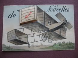 CPA SYSTEME DEPLIANT 10 Vues 77 MELUN Nouvelles De ...  RARE ? Dessin AVIATION AVION BIPLAN 1911 - Melun