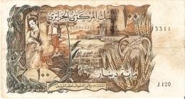BILLETE DE ARGELIA DE 100 DINARS DEL AÑO 1970 (BANKNOTE) - Algeria