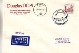 Yougoslavie - Lettre De 1971 - Oblit Beograd Wien - 1er Vol Belgrade Wien - 1945-1992 Sozialistische Föderative Republik Jugoslawien