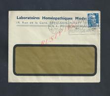 LETTRE COMMERCIALE SUR TIMBRE LABORATOIRES HOMEOPATHIQUES MODERNE ? À LEVALOIS PERRET : - Covers & Documents