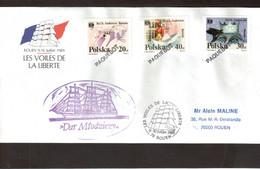 """E2 - VOILES DE LA LIBERTE - ROUEN - Enveloppe """" DAR MLODZIEZY"""" 9.10 JUILLET.1989. Pli  """" PAQUEBOT """" - Postmark Collection (Covers)"""