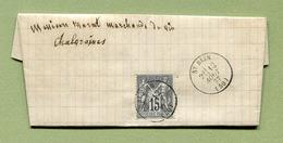 """Type SAGE N° 77 Oblitéré """" SAINT-BLIN  (Haute-Marne)  1877 - Marcophilie (Lettres)"""