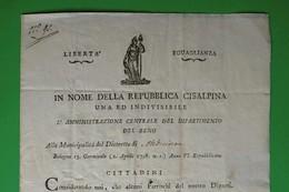 D-IT Repubblica Cisalpina 1798 Bologna  ABOLIZIONE TASSE DEL CLERO ! - Documents Historiques