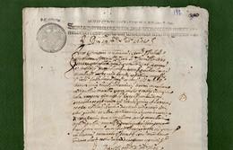 D-IT REGNO DI SICILIA 1642 Manoscritto In Latino Con Simboli Disegnati Da Interpretare -sigillo Di Grani Tre A Tampone - Documents Historiques