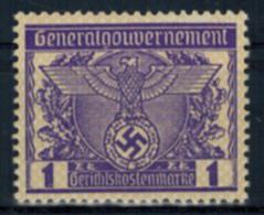 Deutsches Reich Vignette Generalgouvernement 1 Zt. Gerichtskostenmarke Postfr. - Briefmarken