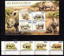 MDA-BK21-551 MINT ¤ BURUNDI 2011 KOMPL. SET ¤ LES RHINOCEROS WILD ANIMALS - ENDANGERED SPECIES - ANIMALS OF THE WORLD - Rhinozerosse