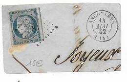 1852 - CERES YT N° 4 OBLITERE PC 83 ANGOULEME (CHARENTE INFERIEURE) Sur FRAGMENT De LETTRE => LYON - 1849-1850 Cérès