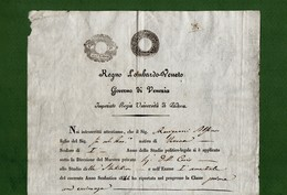 D-IT R. Lombardo Veneto 1844 Imperiale Regia Università Di Padova Attestato Studi Con Sigillo - Documents Historiques