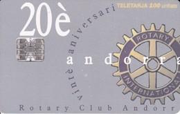 AND-088 TARJETA DE ANDORRA DEL 20 ANIVERSARIO DEL CLUB ROTARY - Andorra