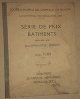 Jb8.m- SNCF 1940 Cahier Des Charges Devis Travaux Batiment Chemin De Fer Train Viaduc - Sciences & Technique