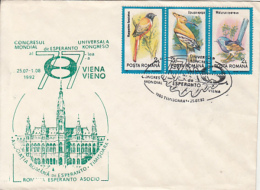 ESPERANTO LANGUAGE, VIENNA CONGRESS, BIRDS STAMPS, SPECIAL COVER, 1985, ROMANIA - Esperanto