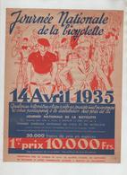 Affichette Journée Nationale De La Bicyclette 1935 Règlement - Radsport