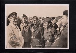 Foto AK Der Führer Auf Dem Flughafen Von Le Bourget Bei Paris - Briefmarke Jersey/Deutschland 1941 FELDPOST - Occupazione 1938 – 45