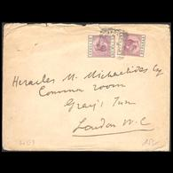 CYPRUS 1920s KGV MAILED COVER TO LONDON & 2  30 PARAS STAMPS - Chypre (...-1960)