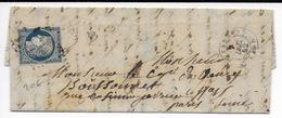 1852 - CERES YT N°4 OBLITERE PC De SEZANNE (MARNE) Sur LETTRE => PARIS - Postmark Collection (Covers)