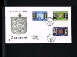 1969 - Great Britain-Guernsey FDC - Flags, Arms & Seals - Flower - Map - From Stampbooklets [FR018] - Guernsey