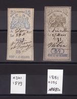 FISCAUX 1879-1881 Effets Commerce F496 - Fiscaux