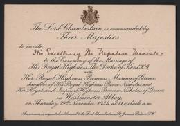 ROYAL WEDDING PRINCESS MARINA GREECE DUKE OF KENT WESTMINSTER ABBEY NEPAL 1934 - Tickets - Vouchers