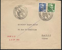 Lettre Recommandée  Caen - Cachet: Anniversaire Du Débarquement 8 Juin 1946  - Exposition Philatélique - Marcophilie (Lettres)