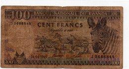 RWANDA 100 FRANCS 1989 P-19 - Rwanda