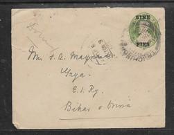 India GVR, Domestic Use Envelope NINE PIES On HALF ANNA,used 1921 - India (...-1947)