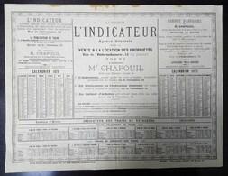 Calendrier 1875 Société L'Indicateur Tours Mr Chapouil - Calendriers