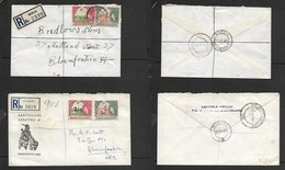 Basutoland Registered, 9d  MORIJA  9 IV 56; 7 1/2c MASERU 23 XI 64 >> BLOEMFONTEIN (S.Africa) - Basutoland (1933-1966)