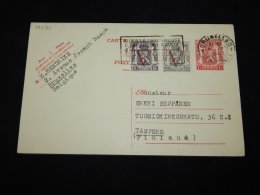 Belgium 1947 Bruxelles 1f Red Stationery Card To Finland__(L-19570) - Stamped Stationery